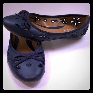 Navy Leather Sperry Luna Flats GUC!